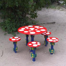 ウクライナ かわいいキノコのテーブルセット
